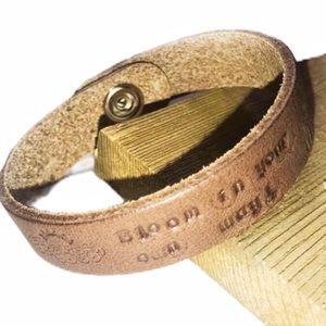 Handtooled leather motivational cuff bracelet
